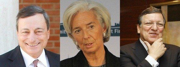 Dirigentes de la Troika: Mario Draghi, Presidente del BCE; Christine Lagarde del FMI; y José Manuel Durao Barroso de la CE. FOTO: La Vanguardia.
