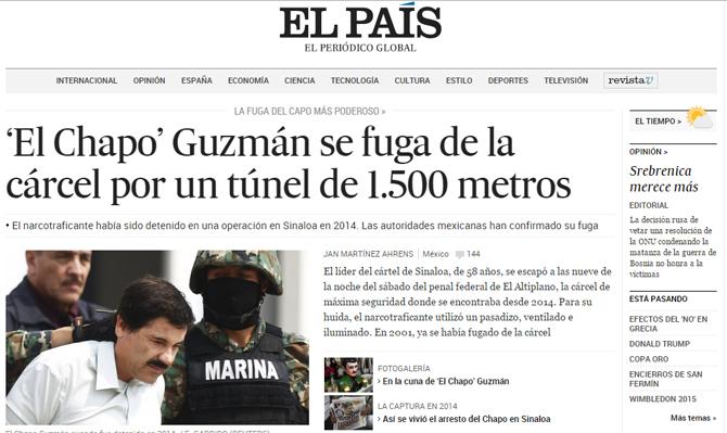 La noticia de la fuga de Joaquín Guzmán Loera alcanzó los diarios más importantes del planeta. FOTO: SIPSE