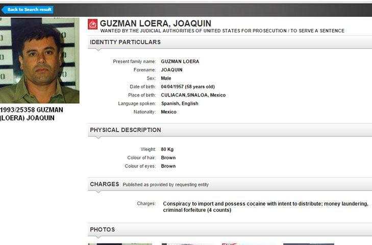 La Ficha Roja con la cual la Interpol reactivó la búsqueda de Guzmán en 190 países. FOTO: Quadratín