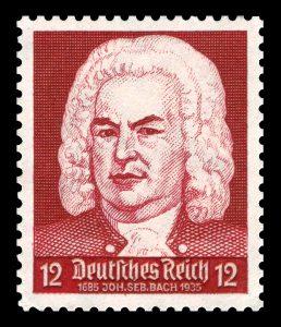 Estampilla conmemorativa del compositor alemán, J. S. Bach.