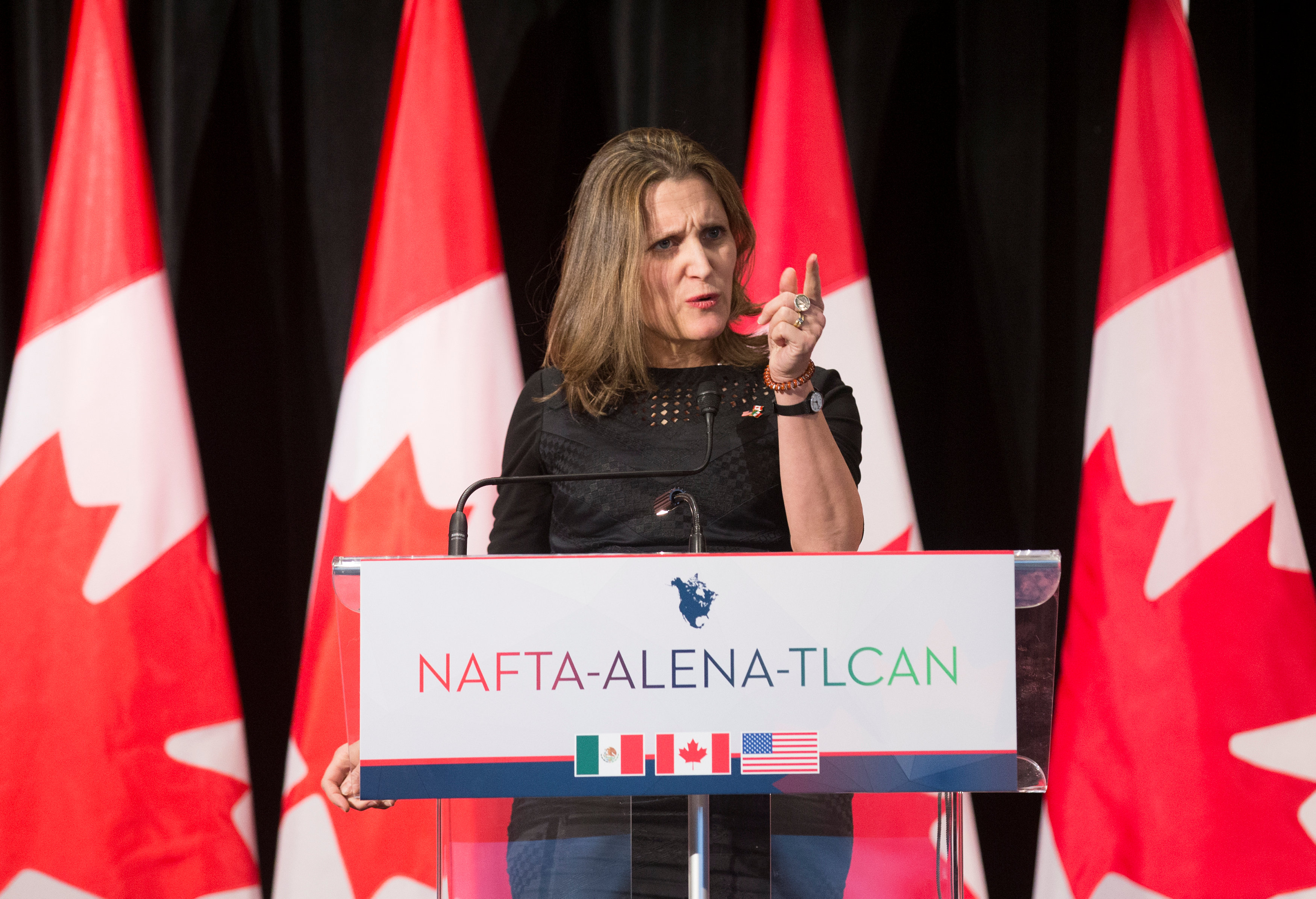 Chrystia Freeland, Canada's Minister of Foreign Affairs, speaks to the media following NAFTA round six renegotiations in Montreal, Quebec, Canada January 29, 2018. REUTERS/Christinne Muschi