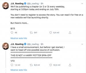 Post de Twitter de J.K Rowling